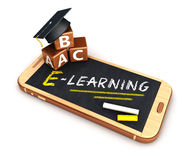3d e-learning smartphone concept Stock Photography