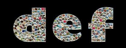 D, E, literas de F - collage des photos de course Photo stock