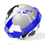 3D Earth, arrow concept. 3D Earth (Europe, Africa side), arrow - great for topics like traveling, global business etc Stock Photos
