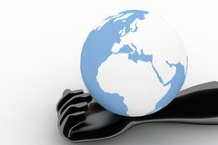 3d earth on black  hands Royalty Free Stock Image