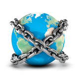 3d Earth bound by chains Royalty Free Stock Image
