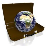 3D Earth, briefcase, suitcase Royalty Free Stock Images