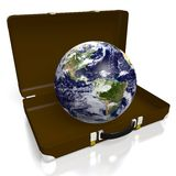 3D Earth, briefcase, suitcase Royalty Free Stock Photography