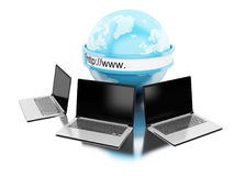 3d Earth with computers laptop. 3d illustration. Earth with computers laptop. Global networking concept. Isolated white background Royalty Free Stock Photo