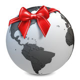 3d earth globe black with red bow Royalty Free Stock Photography