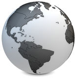 3d earth globe black. On white background Royalty Free Stock Photo