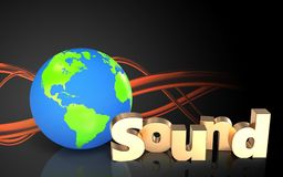 3d earth globe blank. 3d illustration of earth globe over sound wave orange background with 'sound' sign Stock Photos