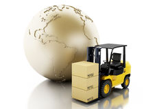 3d Earth globe with cardboard boxes. Delivery business concept. Royalty Free Stock Photography