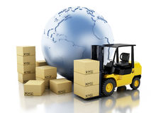 3d Earth globe with cardboard boxes. Delivery business concept. Stock Images