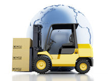 3d Earth globe with cardboard boxes. Delivery business concept. Stock Image