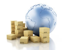 3d Earth globe with cardboard boxes. Stock Images