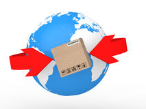 3d earth globe and carton box in arrows Royalty Free Stock Photography