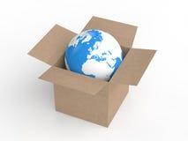 3d earth globe in carton box Stock Image