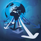 3d Earth Globe Concept With Arrows. 3d Earth Planet Background With Arrows - Vector Illustration Stock Photo