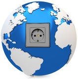 3d earth globe with electrical socket Royalty Free Stock Image