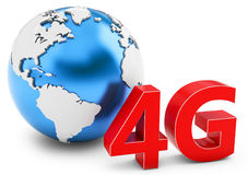 3d earth globe with 4G mobile symbol Royalty Free Stock Photos