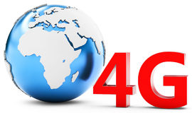 3d earth globe with 4G mobile symbol Stock Photos