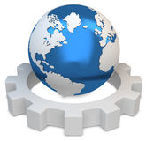 3d earth globe with gear Stock Images