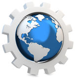 3d earth globe with gear Royalty Free Stock Photo