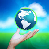 3d earth globe in her hand Stock Photos