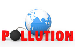 3d earth globe and pollution text with bomb Stock Image