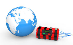 3d earth globe and time bomb Stock Image
