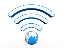 3D earth globe with wifi signals Stock Image