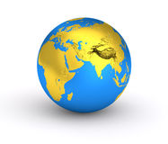 3D Earth golden blue planet stock image