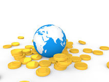 3d earth on golden coins Stock Photography