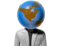 3D earth head character cracked Royalty Free Stock Images