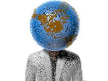 3D earth head character cracked Stock Photo