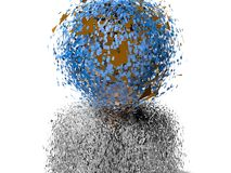 3D earth head character cracked Stock Photography