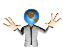 3D earth head character having an idea Royalty Free Stock Photos