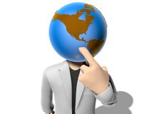 3D earth head character having an idea Royalty Free Stock Images