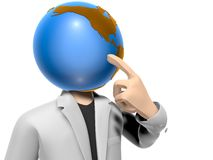 3D earth head character having an idea Stock Photography