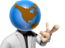 3D earth head character pointing from you Royalty Free Stock Photo
