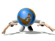 3D earth head character prostrated Royalty Free Stock Photos