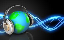 3d earth in headphones blank Royalty Free Stock Image