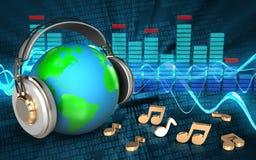 3d earth in headphones earth in headphones Stock Photo