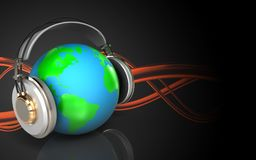 3d earth in headphones earth in headphones Royalty Free Stock Photo