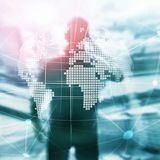 3D Earth hologram on blurred background.Global business and communication concept. royalty free stock photography