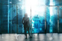 3D Earth hologram on blurred background.Global business and communication concept.  royalty free illustration