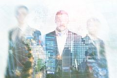 3D Earth hologram on blurred background.Global business and communication concept stock photos