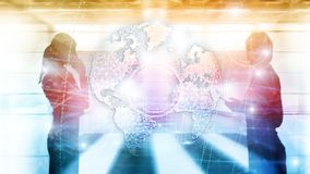 3D earth hologram, Globe, WWW, Global Business and Telecommunication. 3D earth hologram, Globe, WWW, Global Business and Telecommunication royalty free stock images