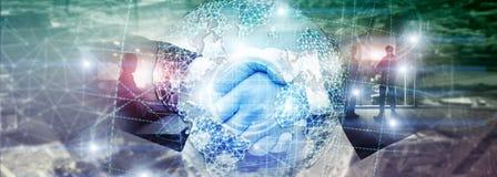 3D earth hologram, Globe, WWW,Global Business and Telecommunication. Handshake mixed media. 3D earth hologram, Globe, WWW, Global Business and Telecommunication stock photo