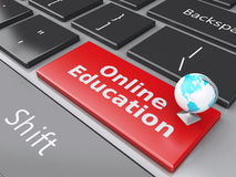 3d Earth icon on computer keyboard. Education concept. Royalty Free Stock Photo