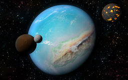 3D Earth like planet. 3D rendering with 1 Earth like planet in deep space with orbiting brown moon, one ice moon and one creating moon Stock Images