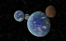 3D Earth like planets Stock Image