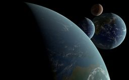 3D Earth like planets Royalty Free Stock Photo
