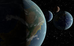 3D Earth like planets Royalty Free Stock Image